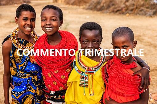 Group of happy African girls from Samburu tribe, Kenya, Africa. Samburu tribe is north-central Kenya, and they are related to  the Maasai.
